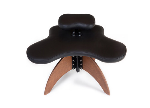 Large Soul Seat with wooden legs in black leather, cross legged chair