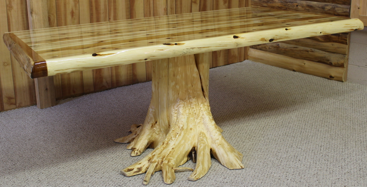 Hand Peeled Cedar Log Wrap Stump Dining Table Hidden