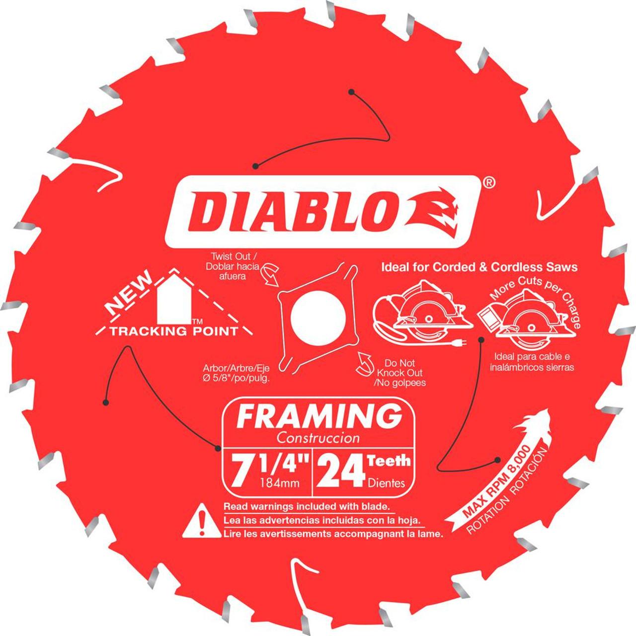 Freud Diablo D0724A 7-1/4 in. x 24-Teeth Tracking Point Framing Saw Blade