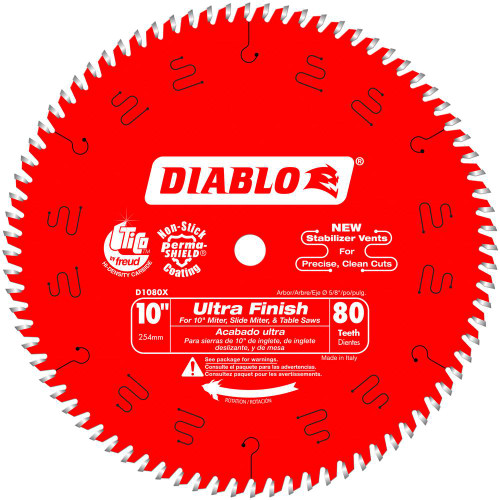 Freud Diablo D1080X 10 in. x 80-Tooth Ultra Finish Saw Blade