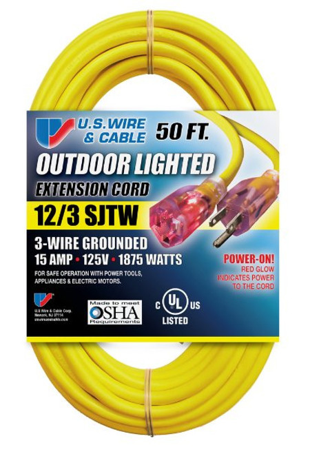 US Wire & Cable 74050 50ft 12/3 15A Illuminated Plug Extension Cord