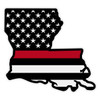 Subdued American Flag with Red Line on Louisiana Outline Reflective Decal