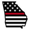 Black US Flag with Red Line on Georgia Outline Decal