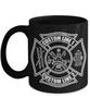 Custom Fire Department White Maltese Cross 11 oz. Black Coffee Mug