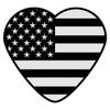 Black American Flag Heart Decal