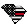 Black American Flag with Red Line on South Carolina Outline Decal