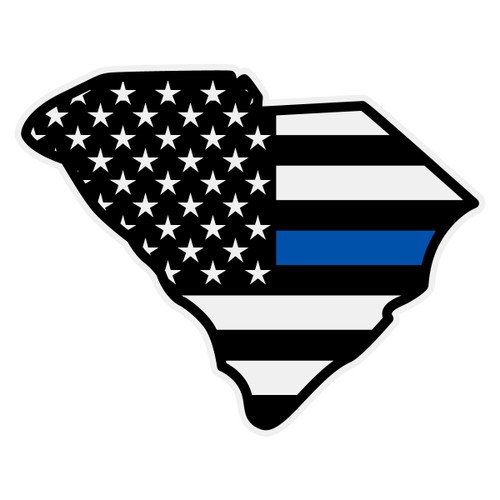 Black American Flag with Blue Line on South Carolina Outline Decal