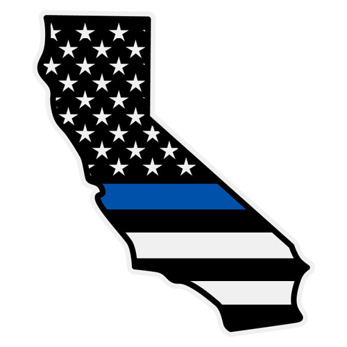 Black American Flag with Blue Line on California Outline Decal
