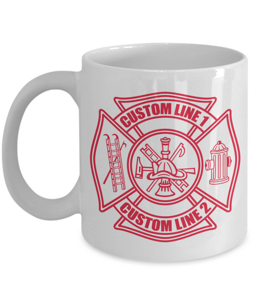 Custom Fire Department Red Maltese Cross 11 oz. White Coffee Mug
