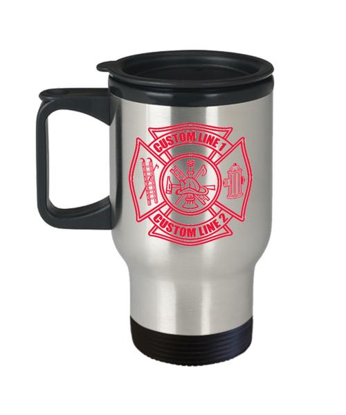 Custom Red Maltese Cross Stainless Steel Travel Mug