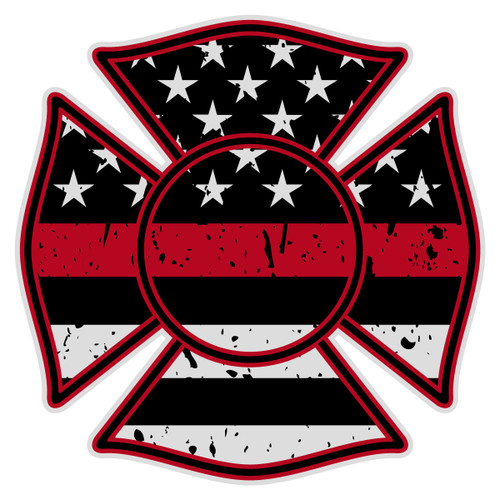 Black Flag Redline Maltese Cross Decal