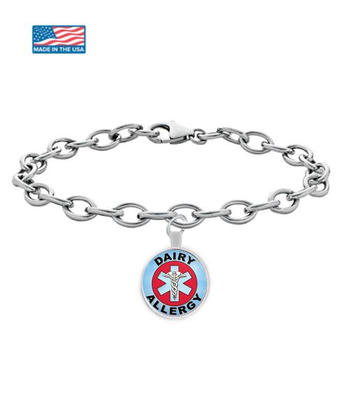 Dairy Allergy Medical Charm Bracelet