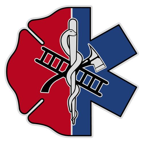 Half Maltese Cross Half Star of Life Decal