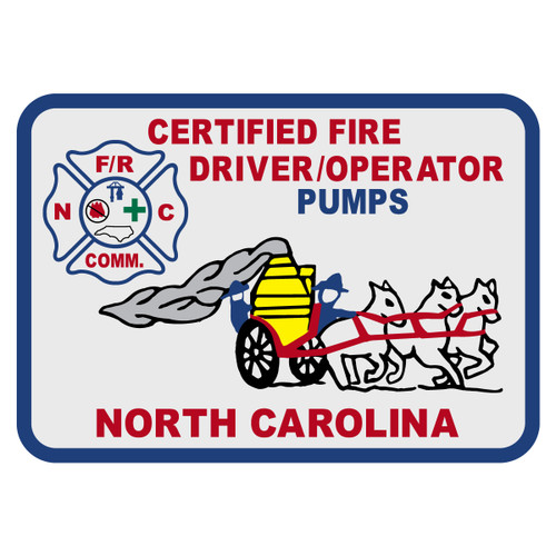 North Carolina Certified Fire Driver/Operator Pumps Decal