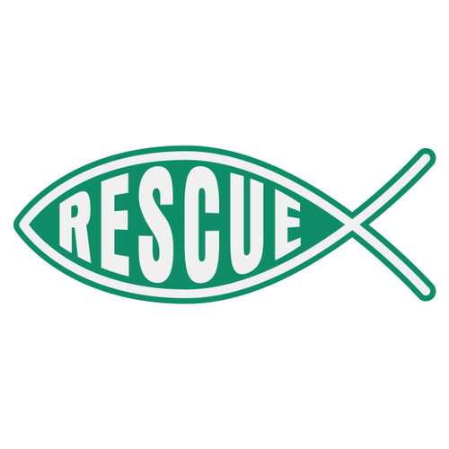 Rescue Christian Fish Decal