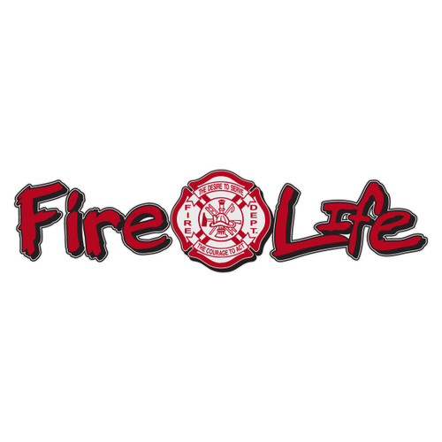 Fire Life with Maltese Cross Reflective Window Banner Decal
