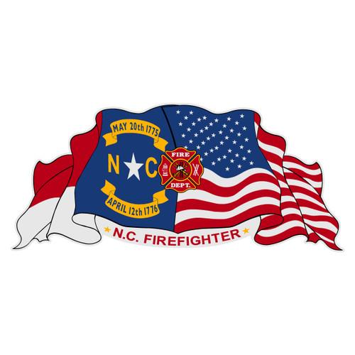 NC Firefighter on North Carolina & US Flag Decal