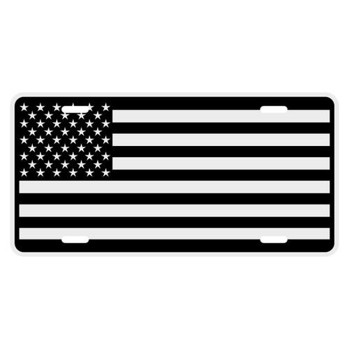 Black American Flag Auto License Plate