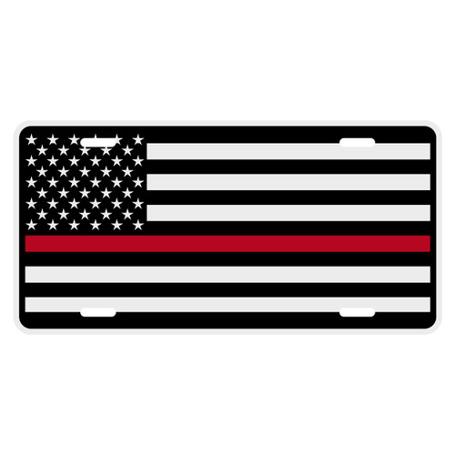 Black American Flag with Redline Auto License Plate