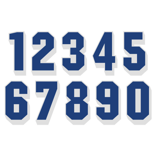 Dark Blue on White Reflective Shadow Letters & Numbers