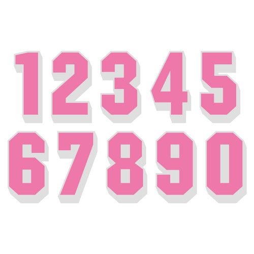 Pink on White Reflective Shadow Letters & Numbers