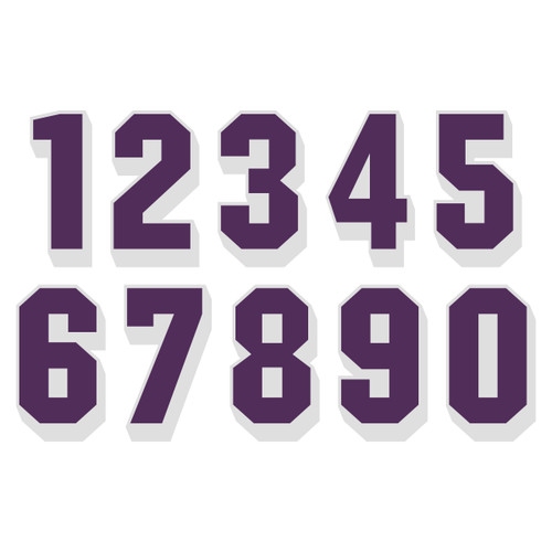 Purple on White Reflective Shadow Letters & Numbers