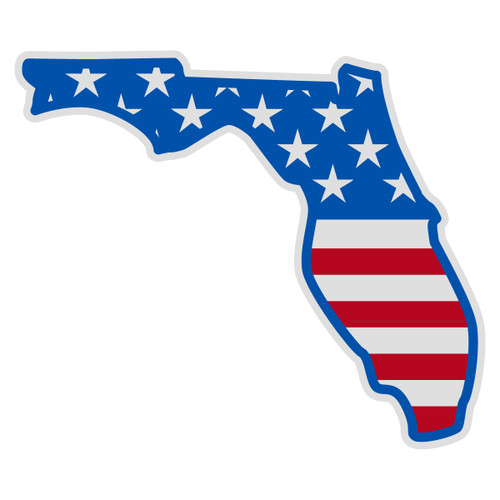 US Flag on Florida Outline Decal