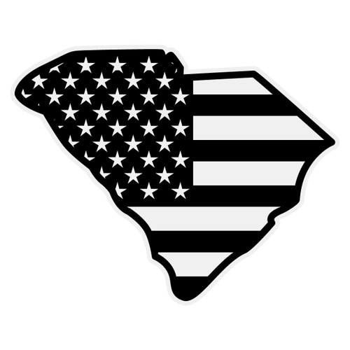 Black American Flag on South Carolina Outline Decal