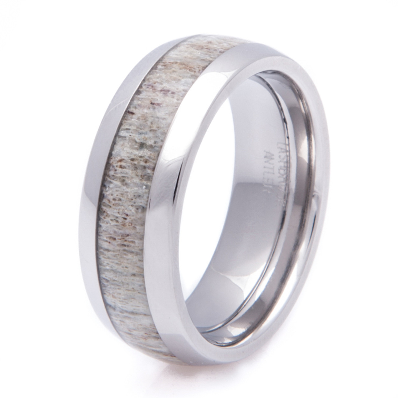 ring mens wedding deer whitetail antler tungsten dp with hammered rings comfort real edge fit