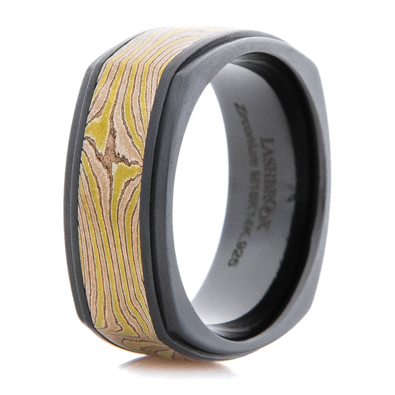 and rings titanium sleeve anodized mokume ring with custom palladium made damascus steel products gane