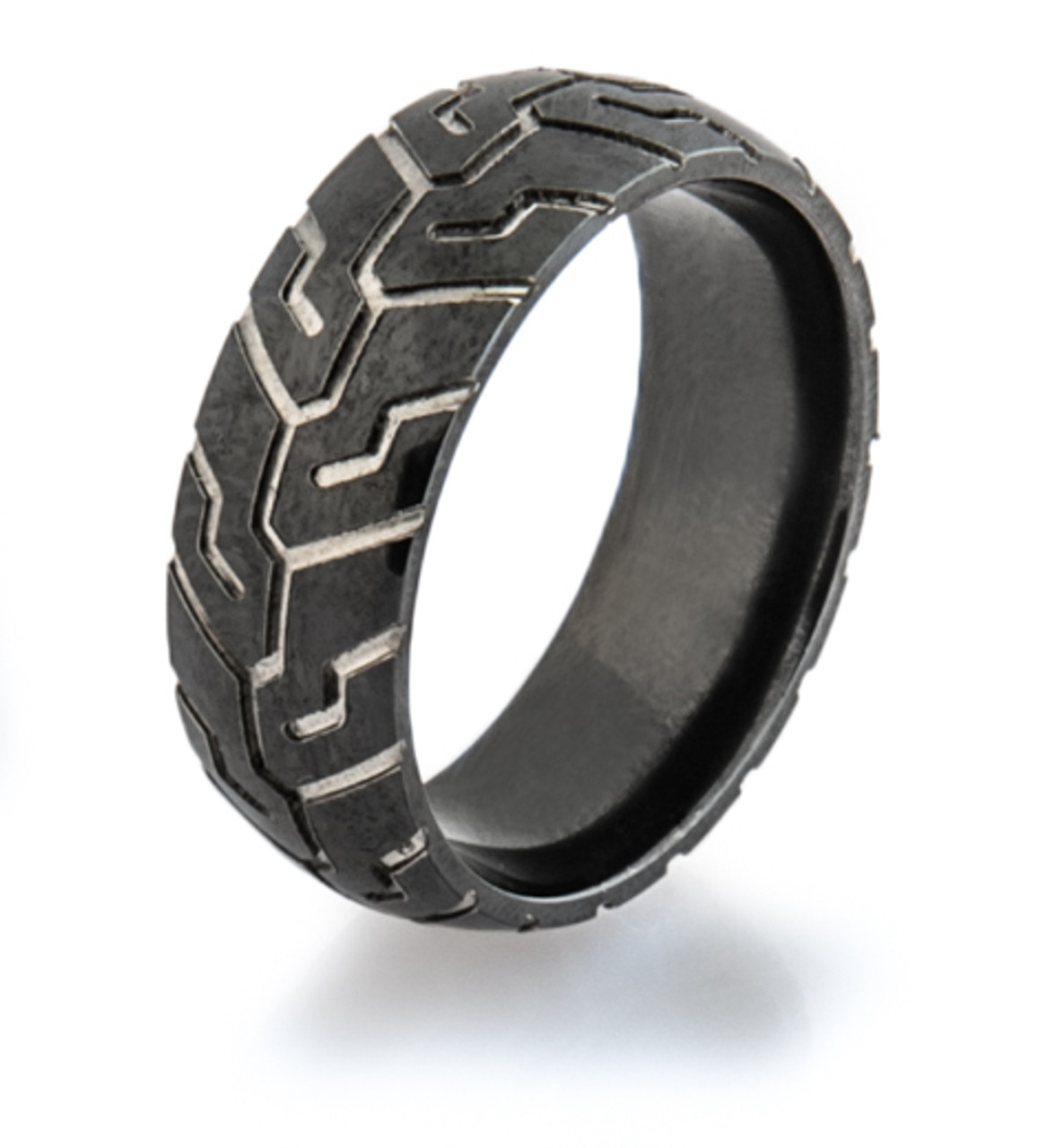 Men S Black Tire Tread Wedding Ring