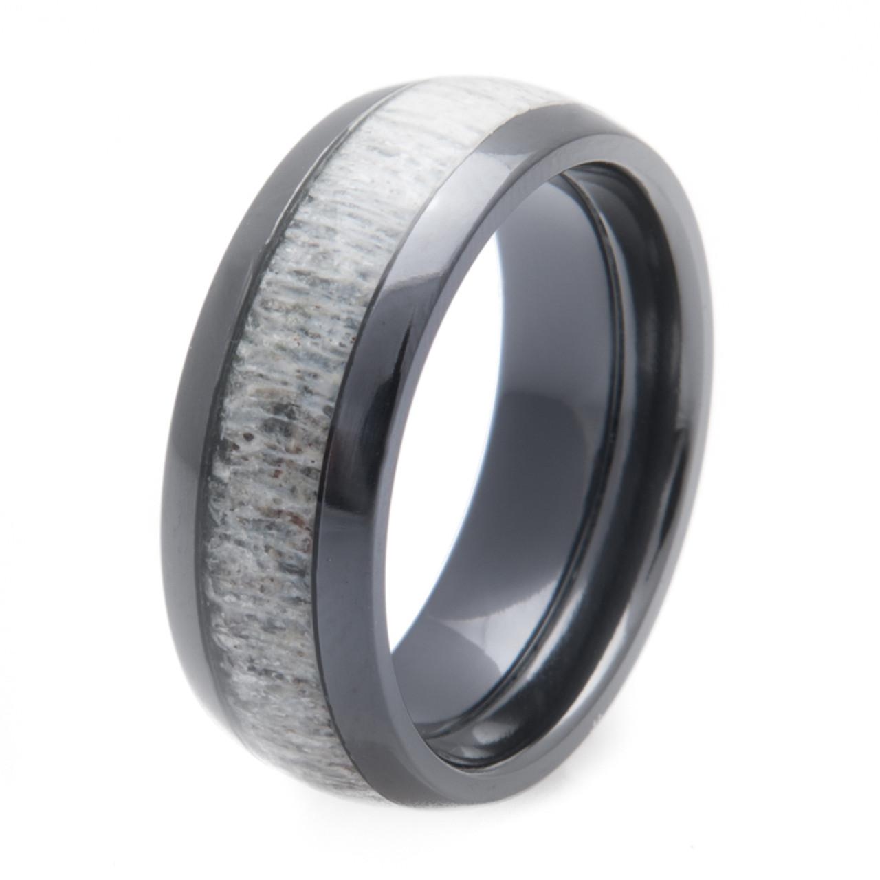 Black Zirconium Deer Antler Inlay Ring Titanium Buzz