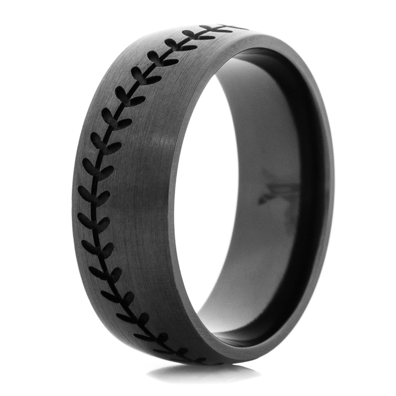 Men S Blacked Out Baseball Wedding Band