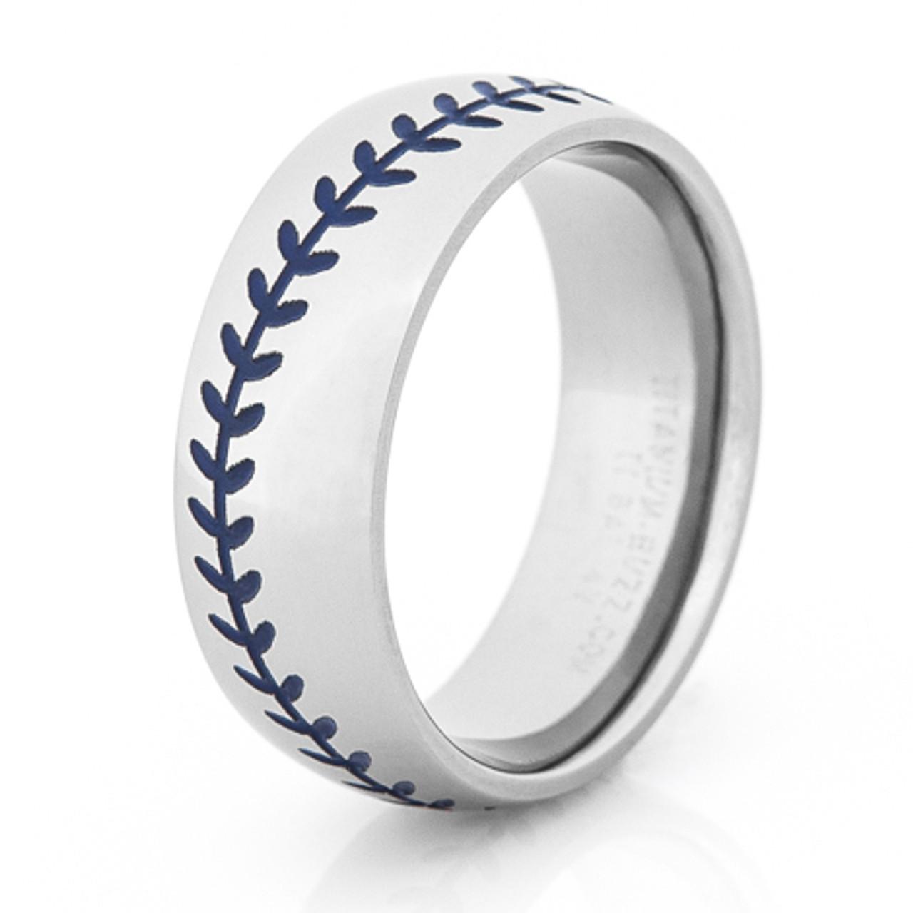 Mens Blue Stitch Baseball Wedding Ring TitaniumBuzz