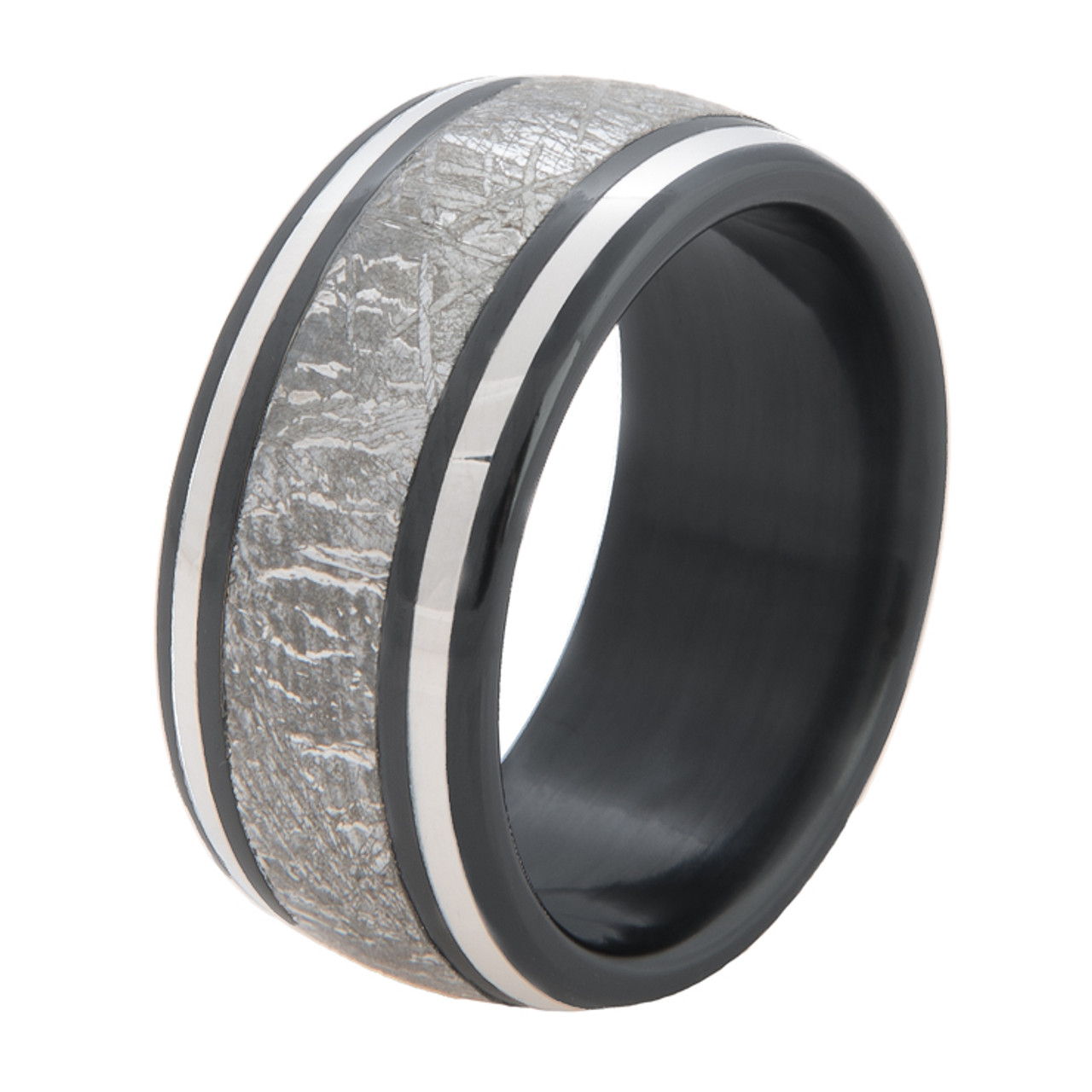 Men S Black Zirconium Meteorite Ring With Twin Platinum