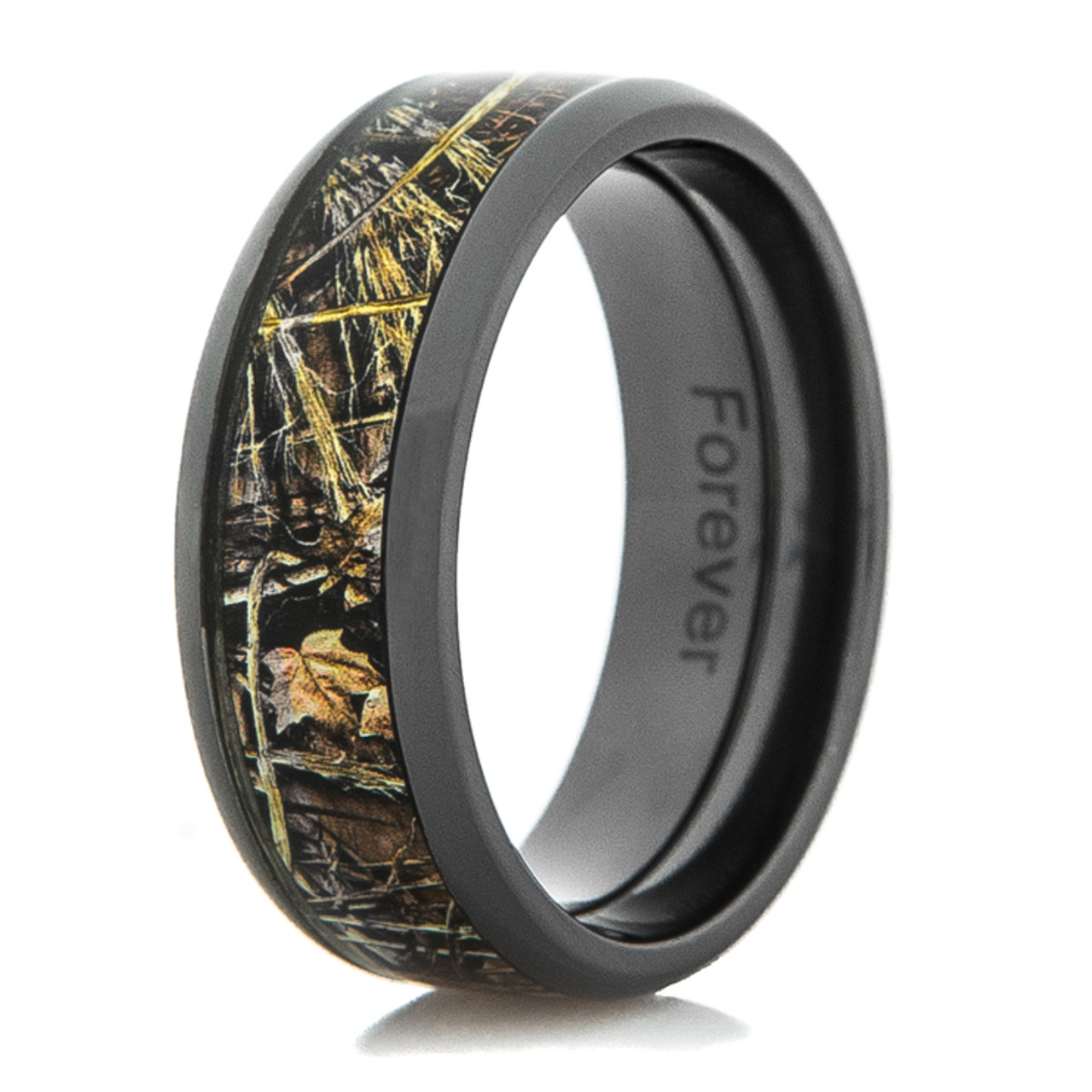 pink ring wedding camo plated product gold band beveled titanium by rings rose camouflage