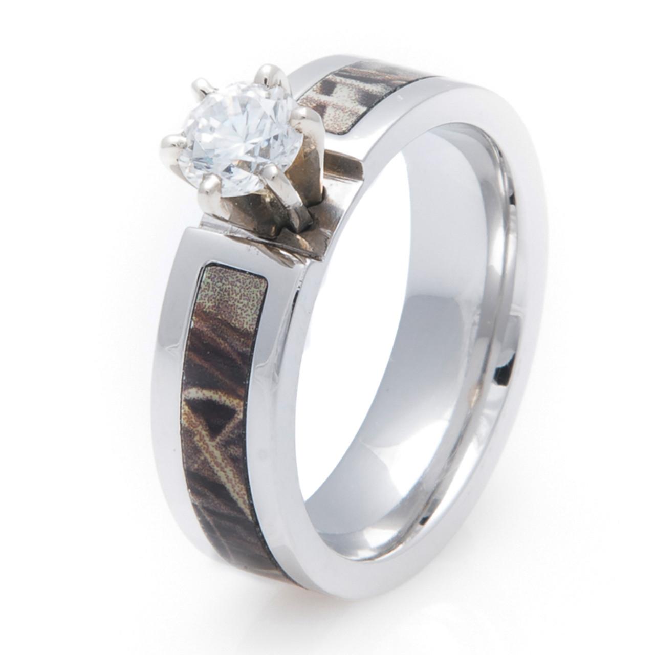 Women S Cobalt Chrome Diamond Camo Engagement Band