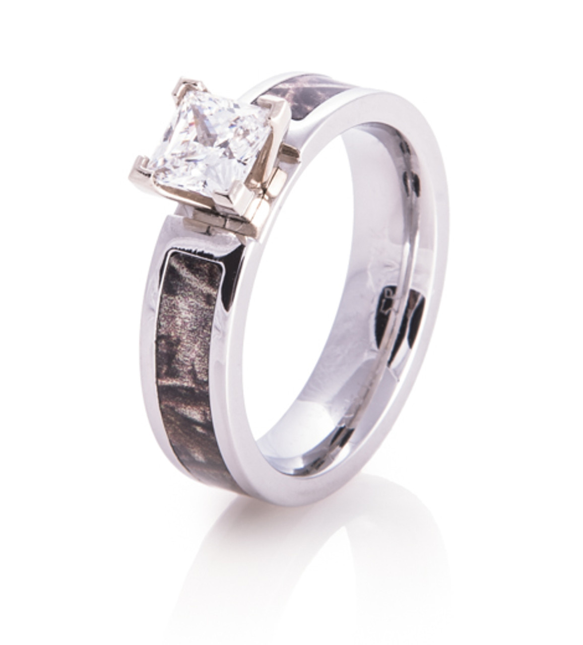 Women S Cobalt Chrome Princess Cut Diamond Camo Ring