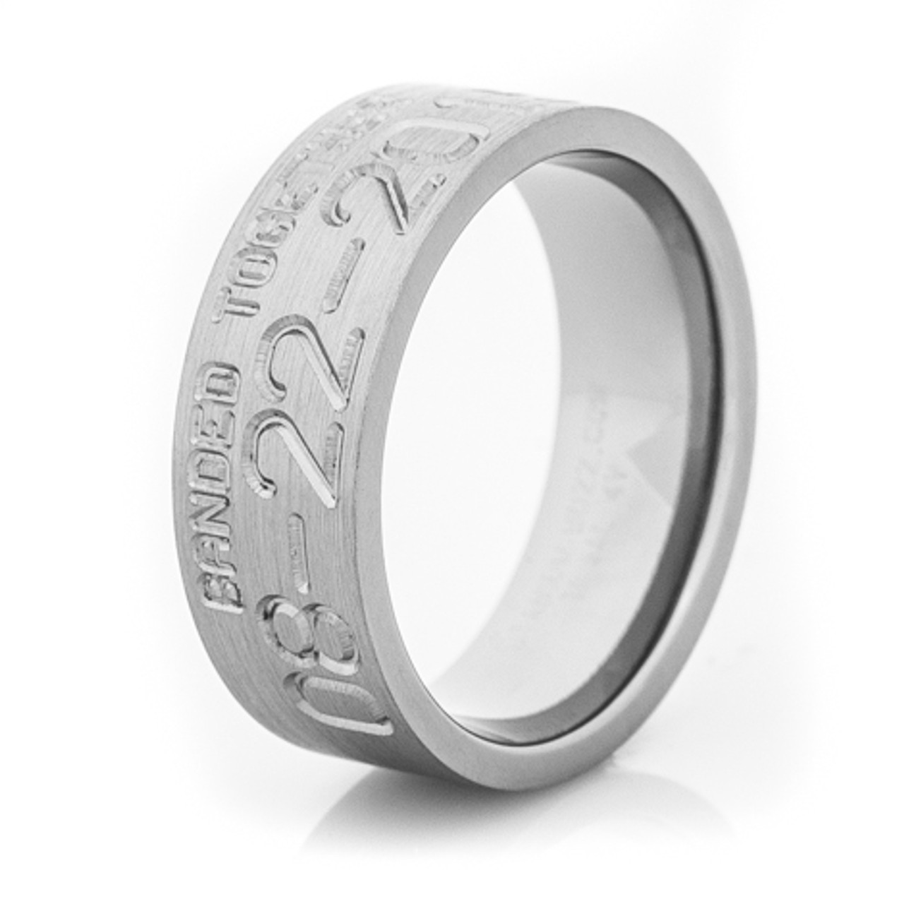 Mens Banded Together Duck Band Wedding Ring TitaniumBuzz