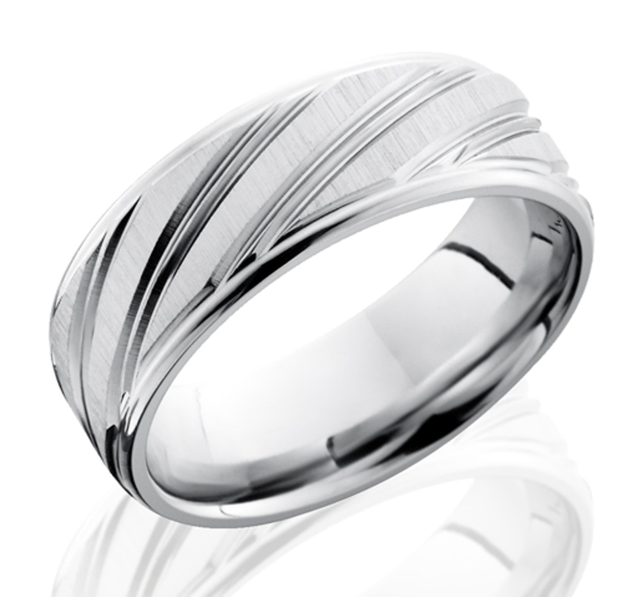 Men S Cobalt Ring With Long Diagonal Striped Grooves