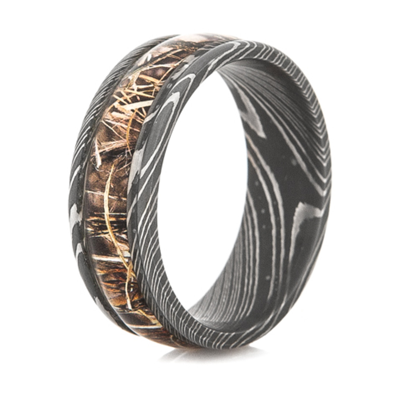 mens acid finish damascus steel camouflage band - Damascus Wedding Ring