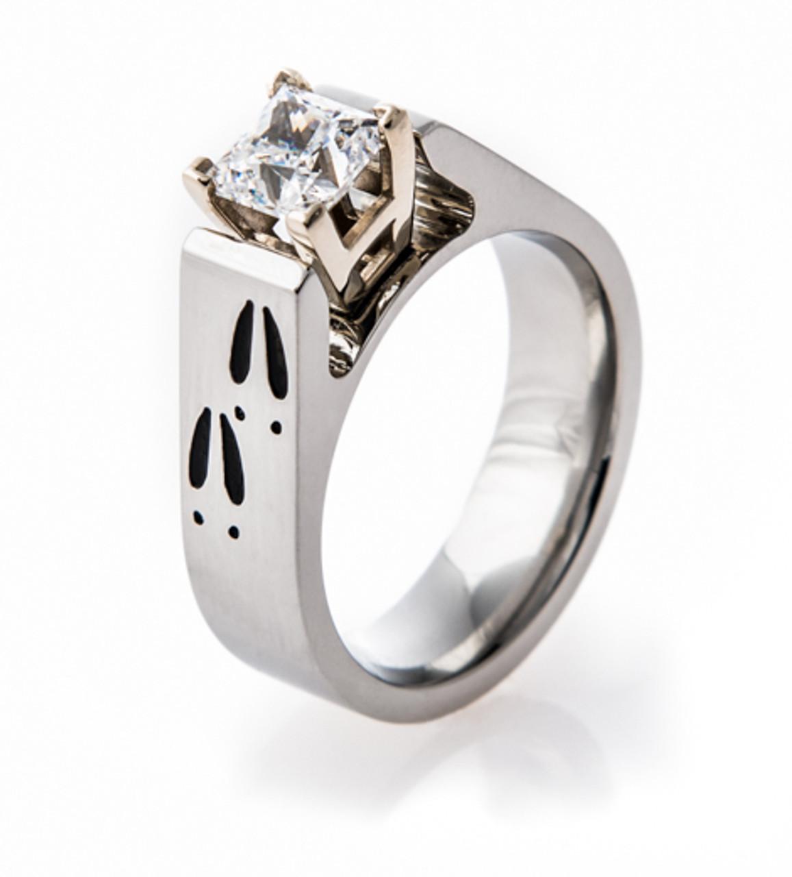 Cobalt Chrome Deer Track Engagement Ring TitaniumBuzz