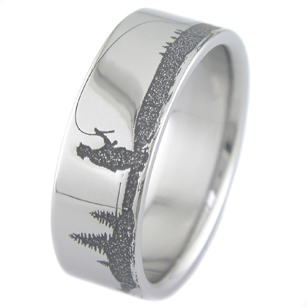 Men S Laser Carved Titanium Fishing Ring Titanium Buzz