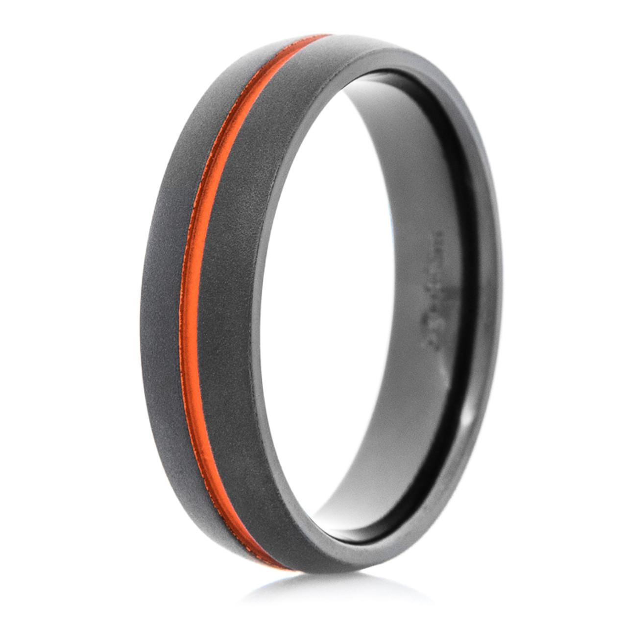 Men S Flat Black Wedding Band With Orange Inlay