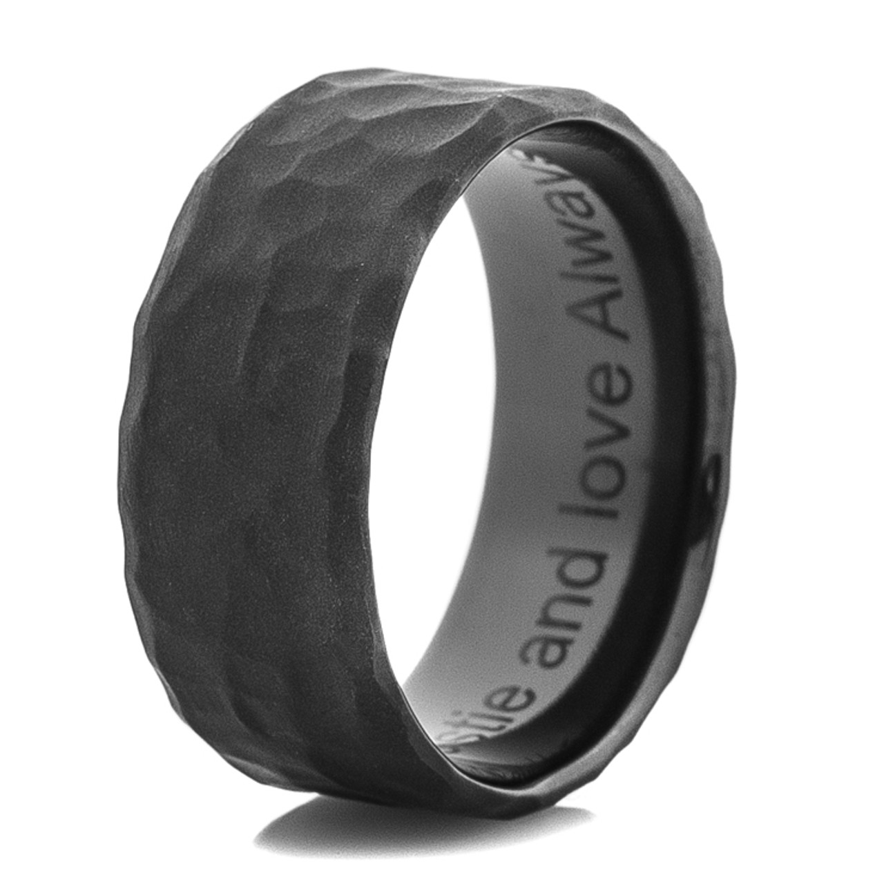 Mens Hammered Flat Black Wedding Band TitaniumBuzz