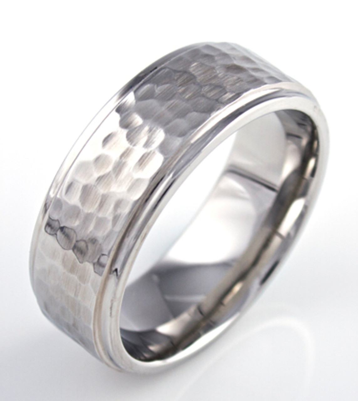 Hammered Wedding Band Unique Titanium Rings More TitaniumBuzz