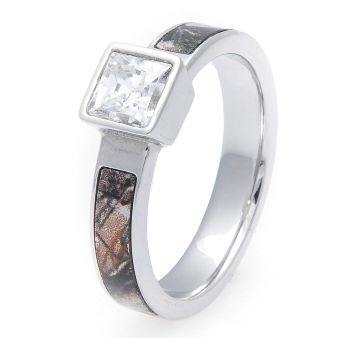 Cobalt Chrome Square Diamond Camo Ring Titanium Buzz