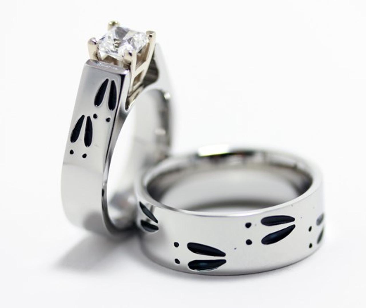 Cobalt Chrome Deer Track Wedding Rings Set TitaniumBuzz