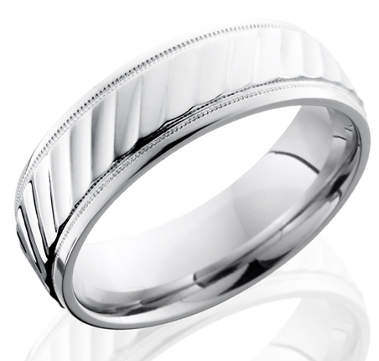 Men S Milled Edge Wave Texture Cobalt Chrome Ring