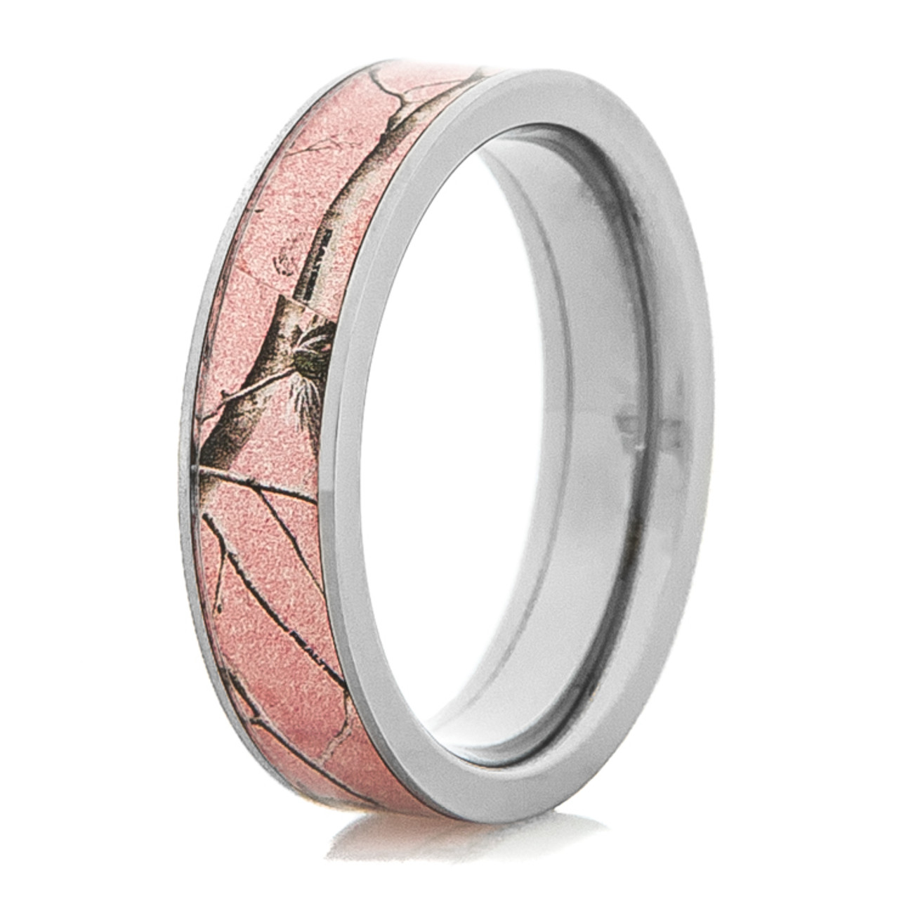 surface main wood flat leafy bands rings ring camo product titanium wedding